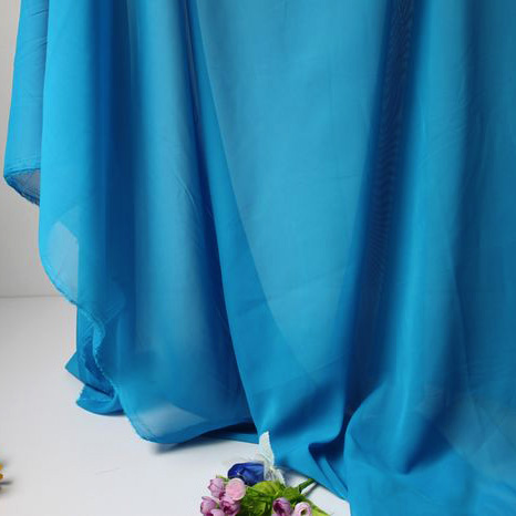 blue chiffon fabric sheer bridal wedding dress lining
