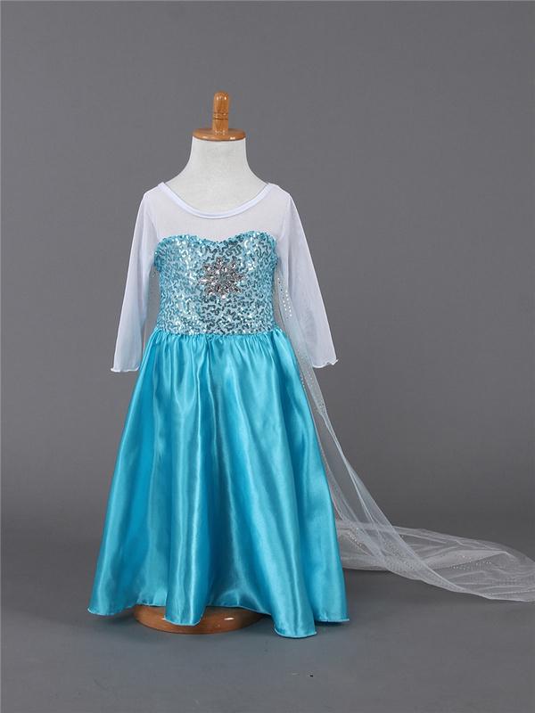 Free shipping New Style Girls Fro&amp;&amp;&amp;zen Dress Elsa Anna beautiful Dress Fashion princess Dress Childrens Cloting<br><br>Aliexpress