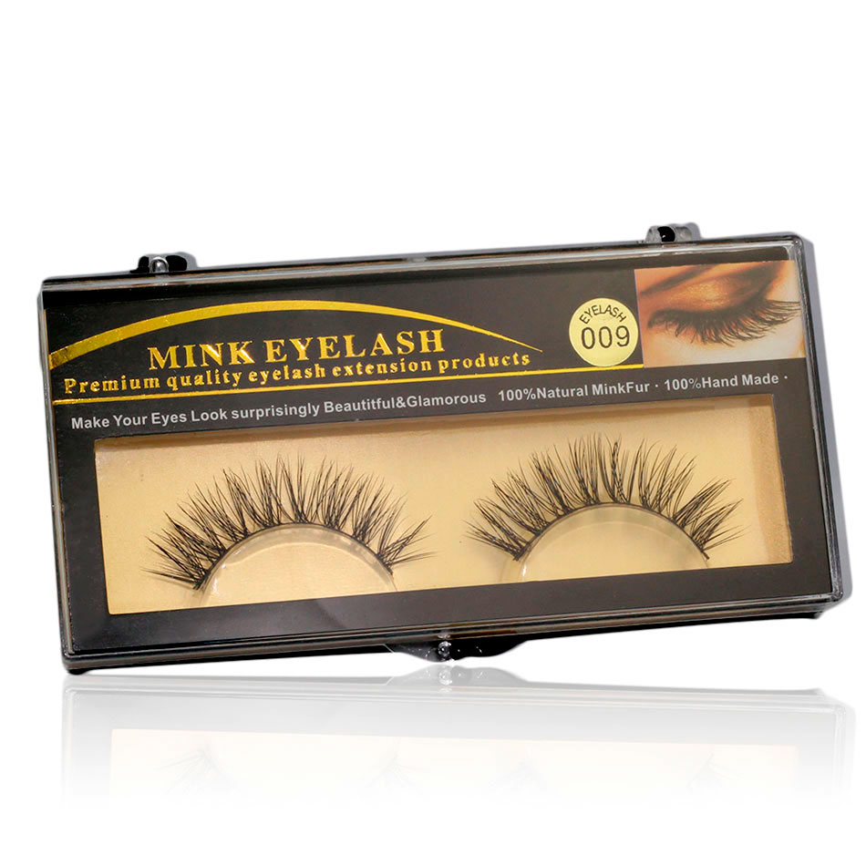 EYM009-1 Pair Soft Natural Mink Lashes Handmade Natural long Messy Mink False Eyelashes for Beauty Makeup(China (Mainland))