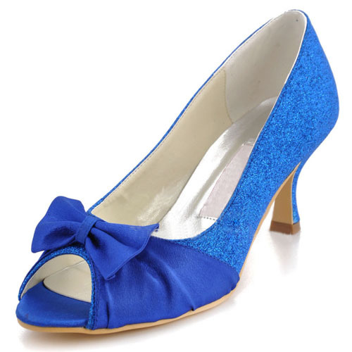 Blue satin glitter women s bridal shoes low heels wedding party shoes