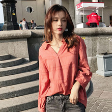 2019 MISHOW Autumn daily causal blouse women turndown collar Long sleeves watermelon Red blouse tops MX18C4586(China)