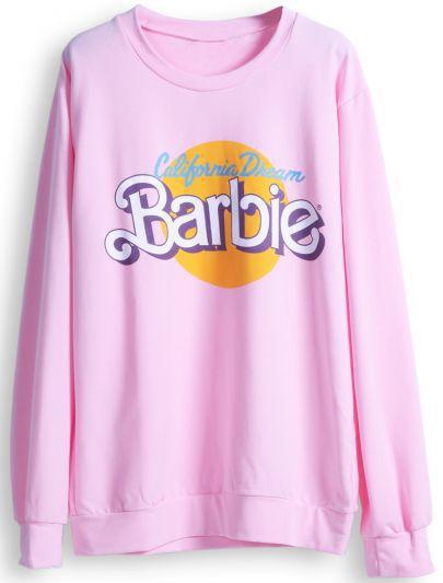 2016 New auturn winter Women hoodyhoodies Clothes Sportswear hip hop Cute Pink Barbie Letters Print Pullover Sweatshirt S-XL(China (Mainland))