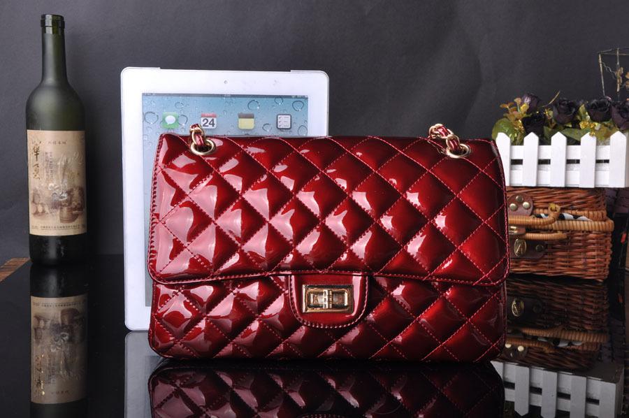 2016 Fashion Classical Women Diamond Lattice Patent PU Leather Handbags Famous Designer cc Brand Bags Sac main Femme de marque