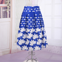 Elastic High Waist Floral Printed Fashion Skirt Women's Summer Spring Rockabilly A-Line Swing Tutu Satin Shining Colors Skirts