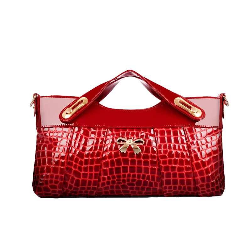 New 2016 Women Handbags Messenger Bags Patent Leather Alligator Grain Brand Name Designer Handbag Day Clutches(China (Mainland))
