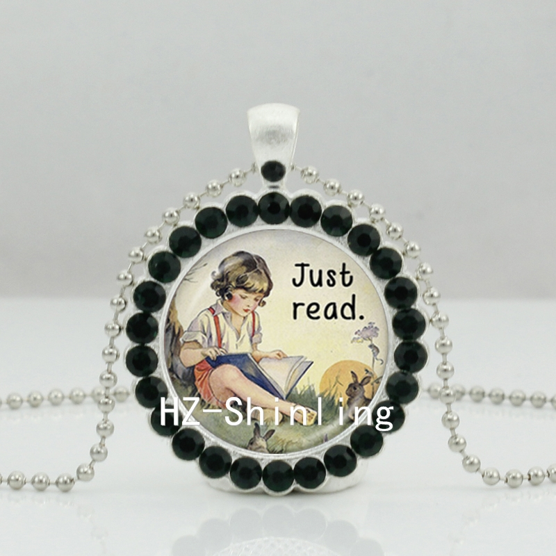 2017 New Just Read Book Necklace Alice Wonderland Crystal Pendant Crystal Necklace Jewelry Ball Chain Long Necklace(China (Mainland))