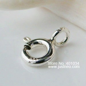 clasp,5mm(heavy duty,plain silver) solid 925 sterling silver clasp,springring necklace clasp soldered with open jump ring(China (Mainland))