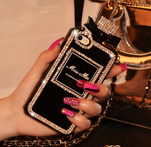 Luxury Perfume Bottle Lanyard Chain Case for iPhone 6 Plus 5S 4S for Samsung S4 S5 S6 Note 3 4 Handbag TPU Cover Diamond Bling(China (Mainland))