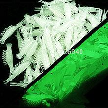 Free shipping 50 pcs or 100pcs New Sabiki Soft Fishing Lure Rigs Luminous Shrimp Bait Jigs Lure soft lure Worn Fake lure