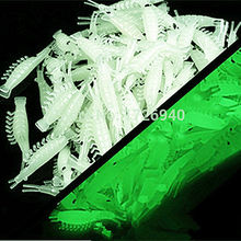 Free shipping 100pcs 3.8cm New Sabiki Soft Fishing Lure Rigs Luminous Shrimp Bait Jigs Lure soft lure Worn Fake lure