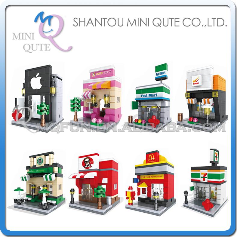 8pcs/lot Mini Qute HSANHE 8 styles kawaii sport retail store Shop kids plastic building blocks model brick educational toy(China (Mainland))