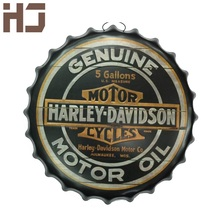 Round Vintage tin sign 40cm Round GENUINE MOTORCYCLES MOTOR Embossed Beer Bottle Cap Metal sign bar poster 3D style(China (Mainland))