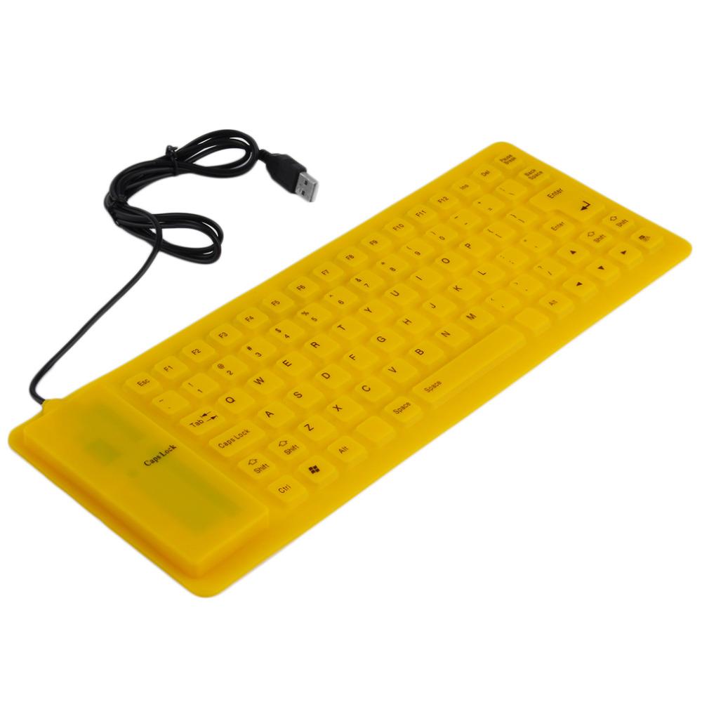 New 1pcs Waterproof USB Portable Soft Flexible Silicone Keyboard for PC Laptop 85 Keys yellow Wholesale(China (Mainland))