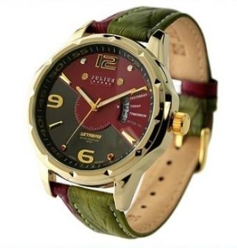 Julius Brand luxury army men watch relojes para hombre with calendar genuine leather strap waterproof