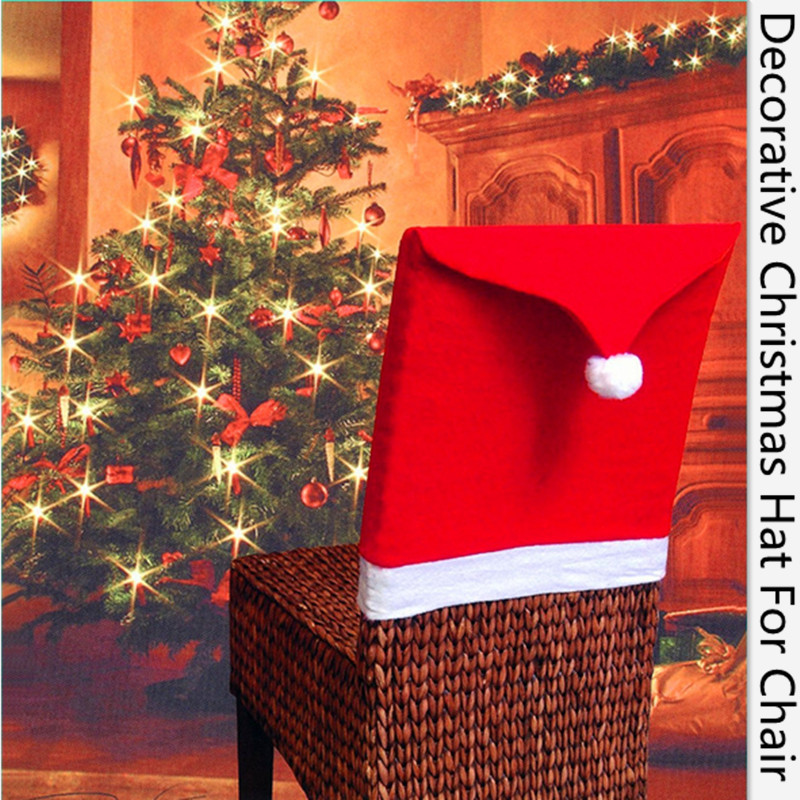 10pcs New Hot Fashion Santa Clause Cap Red Hat Furniture Chair Back Cover Christmas Dinner Table Party Xmas New Year Decoration(China (Mainland))