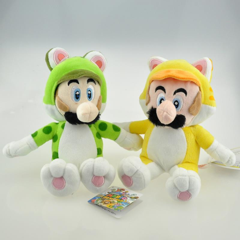 2pcs Super Mario Bros Plush 18cm Super Mario 3D World Cat Series Mario & Luigi Plush Doll Toy Stuffed Animals Toys With Tag(China (Mainland))