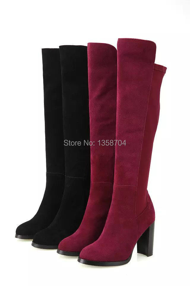 women knee high heels Brand over boots knee for women winter warm snow boots high heels fashion women real leather boots