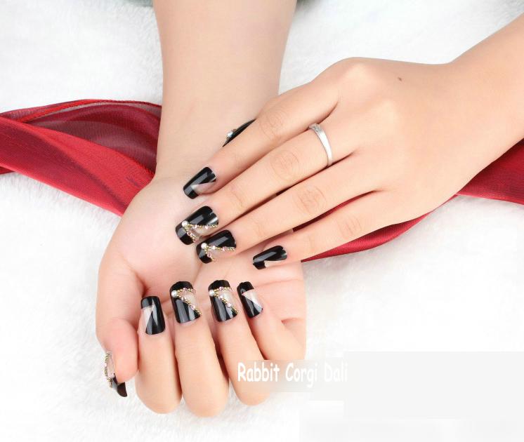 Free Shipping Wholesale 24 Pcs HOT Black False Diamond Color OL Bride Seabeach Artificial French False Fake Nail Art Full Tips(China (Mainland))