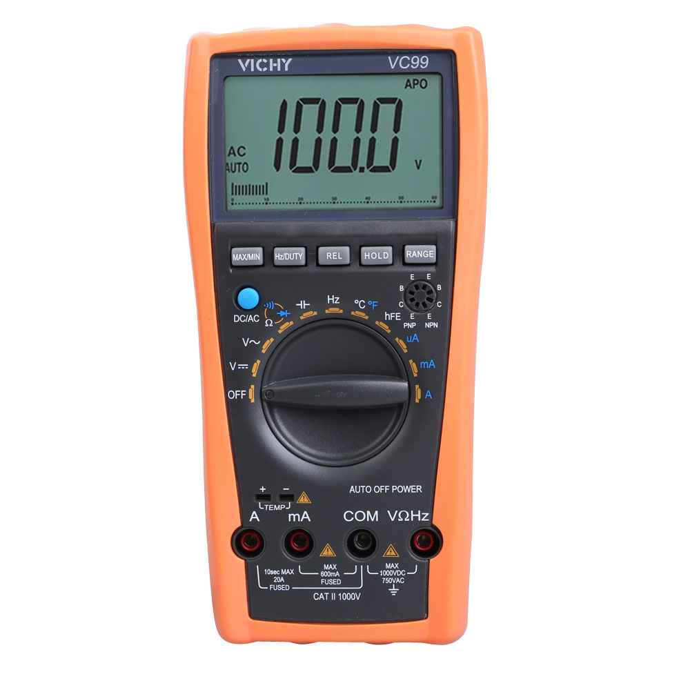 Best Price VC99 Auto Range Digital Multimeter Ammeter Voltmeter Temperature Tester Unit Symbol 61 Selection Analog Bar Display(China (Mainland))