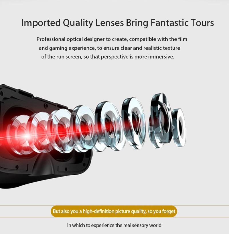"""ถูก VR i7 3Dแว่นตาคู่-นูนที่มีPMMAฟองน้ำหมวกกันน็อคแว่นตาสำหรับ4.7-6.0 """"โทรศัพท์+บลูทูธGamepadควบคุม"""
