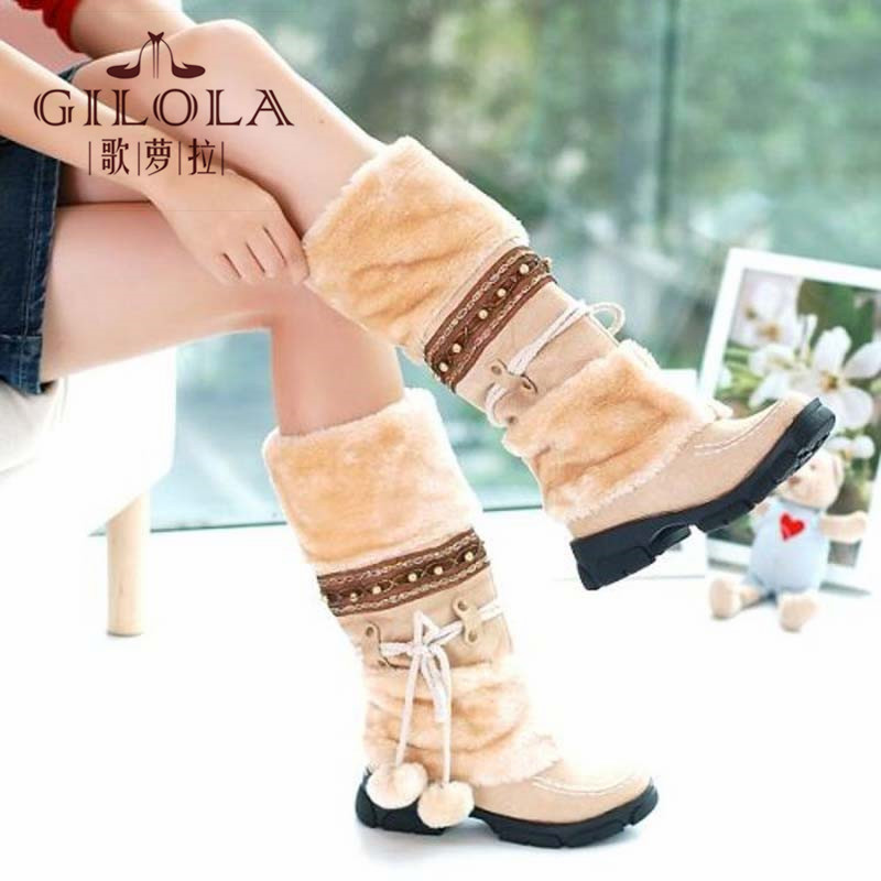 new 2015 half knee high boots fur inside women boots women's autumn winter boots shoes woman warm keep #Y1075809F(China (Mainland))