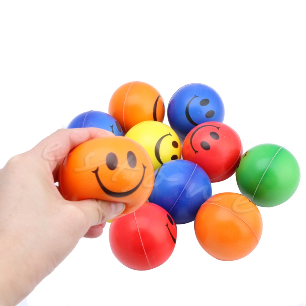 1Pc Smiley Face Hand Wrist Exercise Stress Ball Reliever Mood Squeeze Toy(China (Mainland))