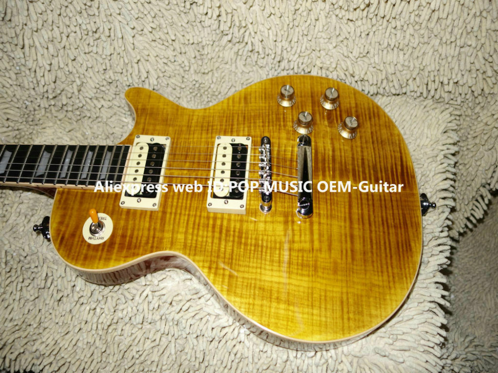 ONE Piece Neck Tiger Flame top Slash AFD Electric Guitar Ebony Fingerboard Free Shipping(China (Mainland))
