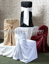 Wholesale Price: White Satin Universal Self-Tie Banquet Chair Cover(China (Mainland))