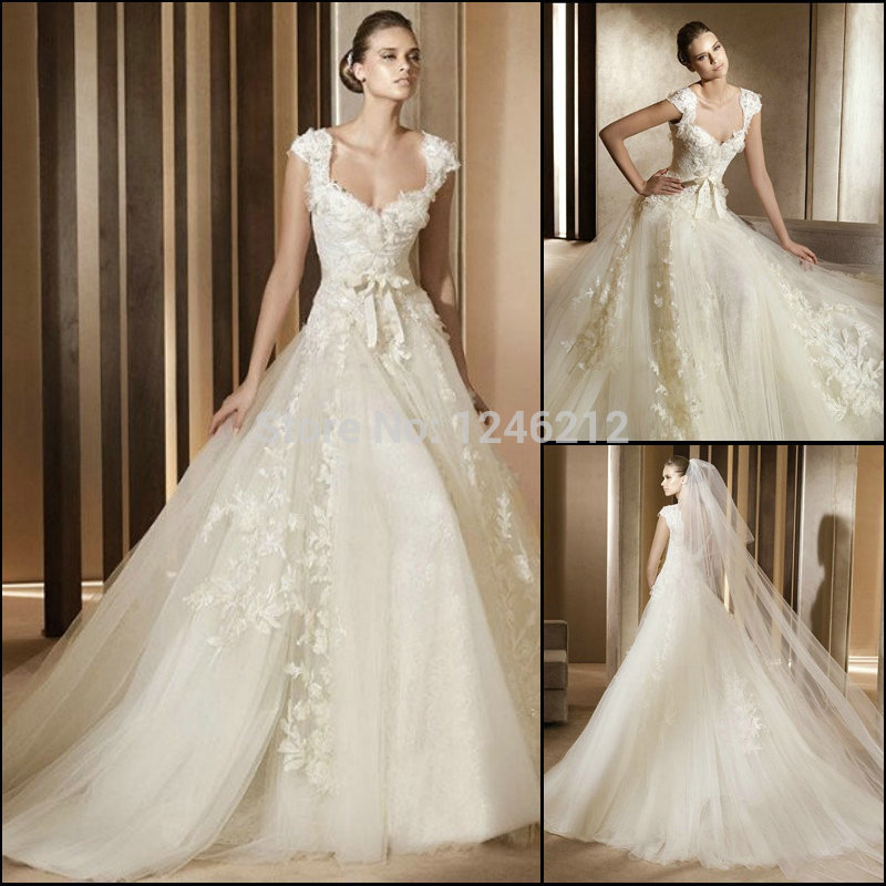 Fashion design square neckline pincess ball gown royal for Designer ball gown wedding dresses