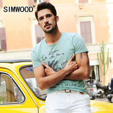 2016 New Arrival Brand SIMWOOD Men Clothing Short-sleeved T shirt Men O-neck Slim Fit Cotton Casual Tshirt Homme Plus SizeTD1010