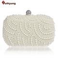 Hot Sale Women Pearl Handbag Hand beaded Diamond Clutch Purse Long Short Chain Tote Evening Bags