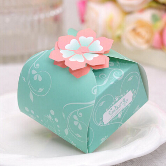 100PCS/LOT PAPER gift box blue Square Wedding Favor Boxes party candy box - Free shipping(China (Mainland))