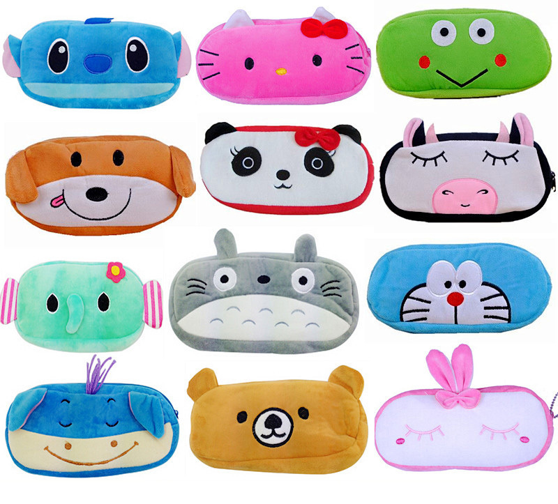1 PCS Cute Cartoon Plush Pencil Case Kawaii Large Size School Kids Pencil Box Animals Stationery Fashion Makeup Bag for Women(China (Mainland))