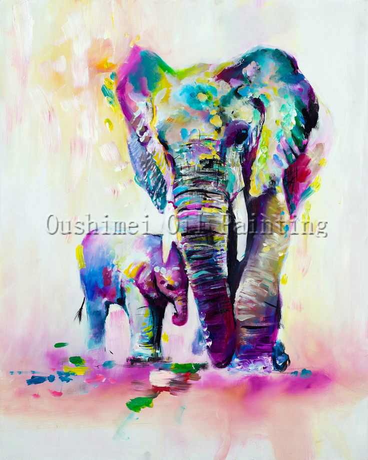 X Series New Arrival High Quality Elephant Oil Painting On Canvas Mother and Kid Oil Painting For Wall Artwork Decoration(China (Mainland))