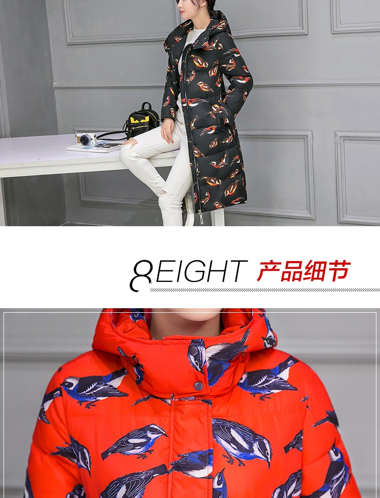 2016 Winter Women's Overcoat thick knee fashion hooded down cotton printing jacket Parka female long section large size coat