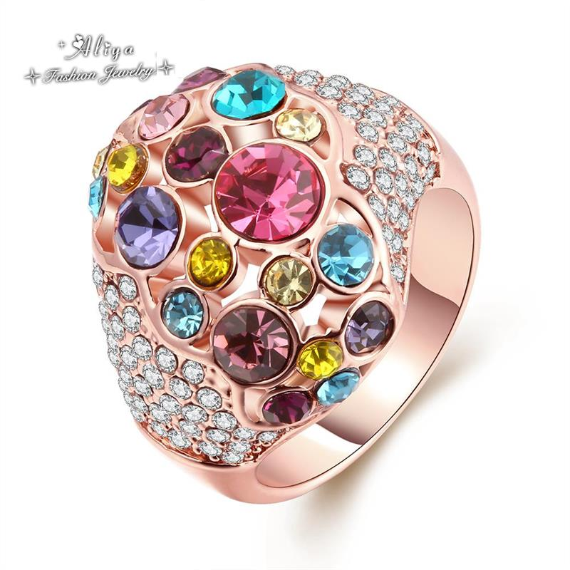 2016 Hot Sale Fashion wedding engagement brand jewelry Austrian crystal color CZ Diamond Rose Gold ring for women Free Shipping(China (Mainland))