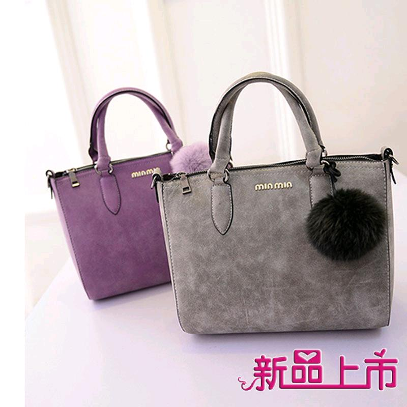 Fashion women's handbag 2015 PU scrub formal hair ball lady leather portable shoulder diagonal - fashional accessories store
