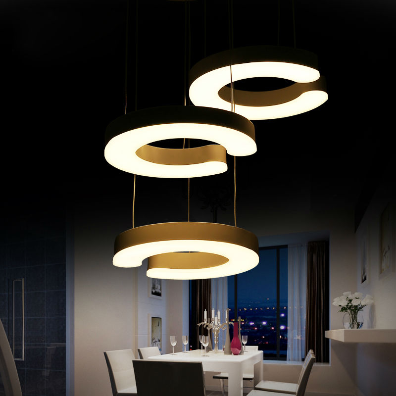 LED acrylic lampshade Modern pendant lights 3 rings lighting fixture for living room bedroom dining decoration hanging lamp(China (Mainland))