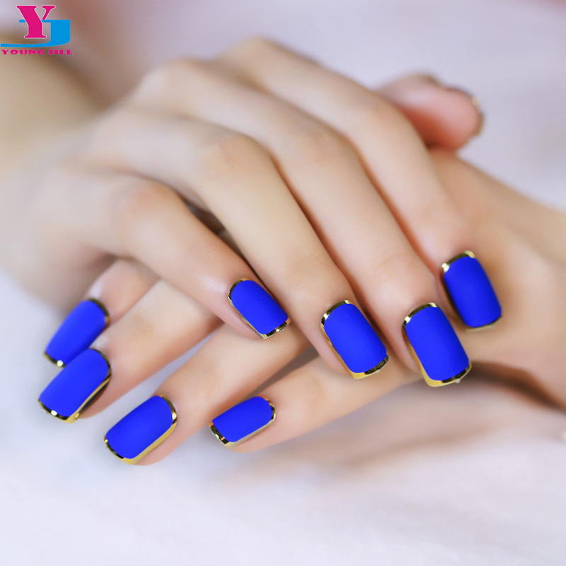 2016 New Royal Blue Matte Artificial Nail Tips Metallic Side Gold Fake Nails High Quality Faux Onlges Full Cover False Nail 24pc(China (Mainland))