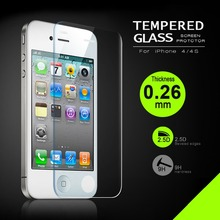 2.5D 0.26mm Premium Tempered Glass For iPhone4 4s 9H Hard 2.5D Arc Edge High Transparent Screen Protector with Package 100PCS