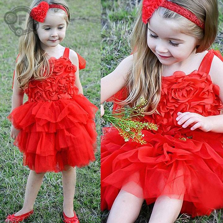 New Summer 2015 Girl Rose Dresses Girls Toddler Red 3D Flower Tutu Layered Princess Party Girls Clothes Kids Formal Dress 10(China (Mainland))