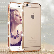 Buy Rhinestone Silicone Phone Case iPhone 6 6S 7 Plus 5 S 5S SE Luxury Glitter Bling 3D Diamond Edge Cover Case Gold Pink Fundas for $2.50 in AliExpress store