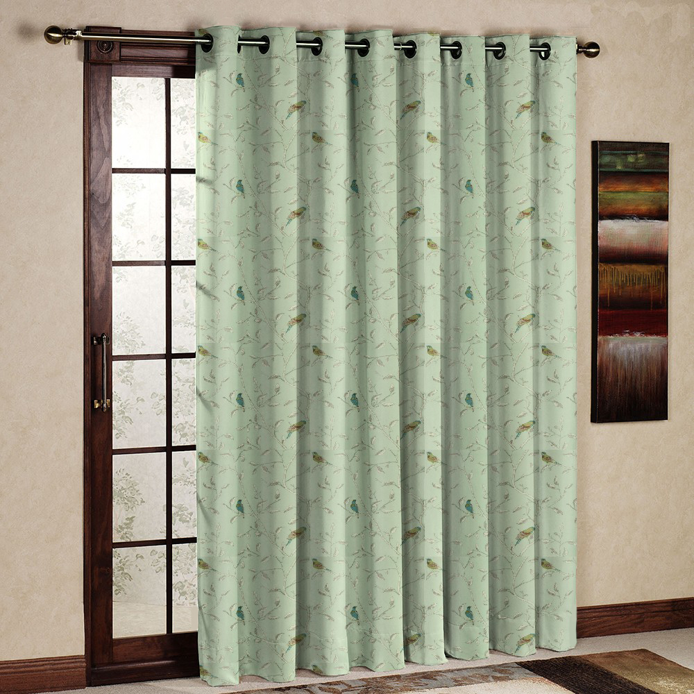 One Piece Printed Rustic Pastoral Style Blackout Thermal Insulated Bird Curtain/Drape/Panel for living room Grommet ( le-green)(China (Mainland))