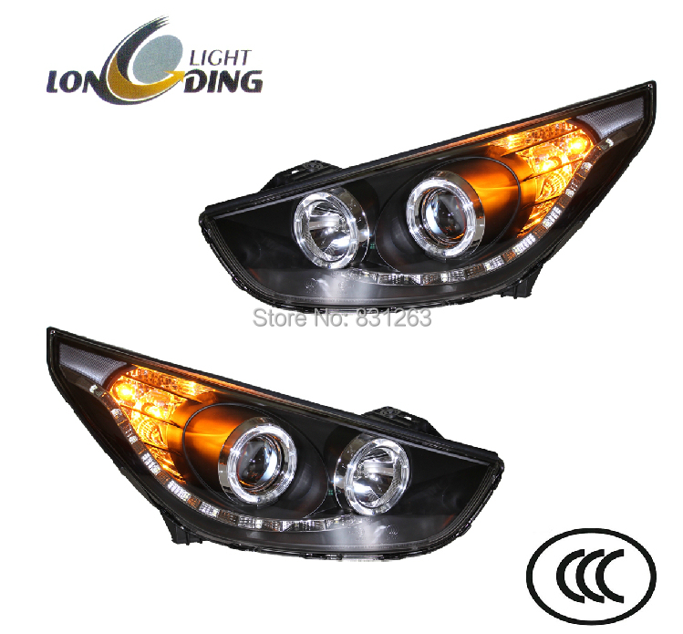 Headlight assembly for Hyundai ix35 headlight assembly for Hyundai IX35 v2 angel eye headlights modified bifocal lens xenon(China (Mainland))
