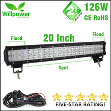 FREE SHIPPING 12v dual rows CREEs waterproof 10100lms 126W offroad led driving light led light bar work light(China (Mainland))