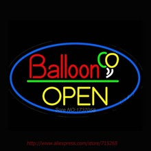 Open Balloon Neon Sign Handcrafted Neon Bulbs Real GlassTube Advertise Impact  Club Decorate Store Display Fast ship 24x16(China (Mainland))