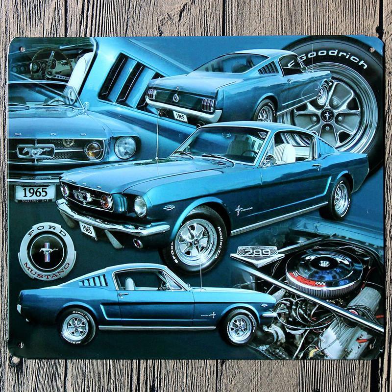 18*21CM 1965 Blue Car Metal Poster Ford Mustang Tin Sign Wall Decor Vintage Gift Bar Club Pub Iron Tin Metal Painting Plate(China (Mainland))