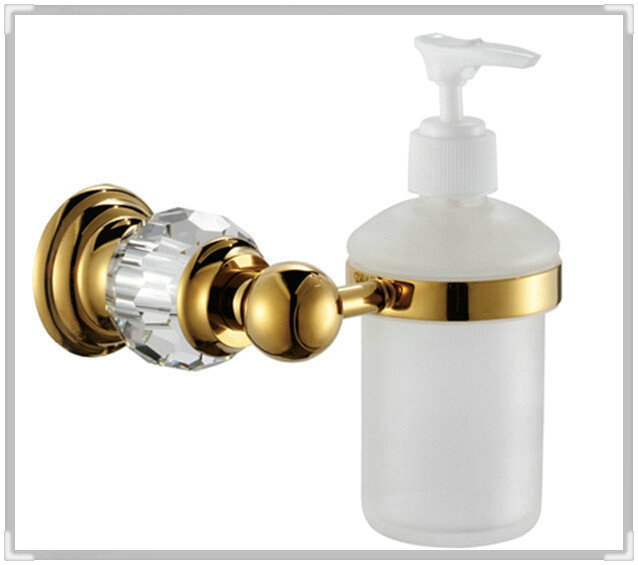 Luxury Crystal & Brass & Glass Gold Liquid Soap Dispenser n Hand Sanitizer Glass Bottle CY020 waterfall wall faucet tap bathroom(China (Mainland))