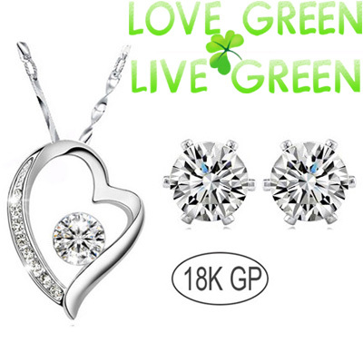 Promotion Fashion Bridal 18K White gold Zircon Rhinestones float floating Heart Pendant Necklace Earrings jewelry sets 400868 - Love Green Live Green--fashion Jewelry store