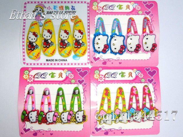 Free Shipping  Hello kitty  Barrette Prong Pin  Hair Clips For Kids Mix color